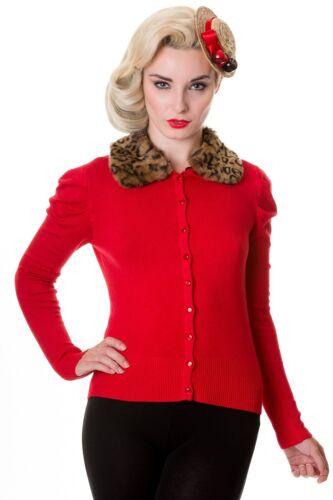 Banned Red Leopard Faux Fur Cardigan Vintage Rockabilly Tattoo 8-16