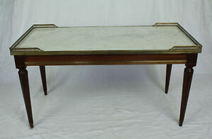 Marble Top Brass Coffee Table.Details About French Vintage Louis Xvi Style Marble Top Brass Gallery Coffee Table