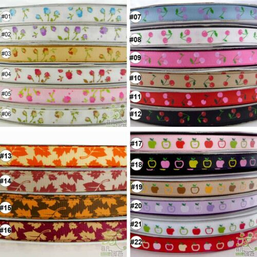 5Yard 25Yard Rose Cheery Apple Maple Flower Grosgrain Ribbon Craft 9mm 3//8/""