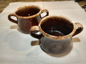 2-Vintage McCoy Two Handle Soup Bowls Mugs Cups Brown/Cream Pottery Drip Glaze
