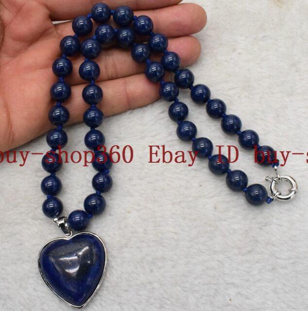 Natural 6-18mm Blue Lapis Lazuli Beads Gems Heart Pendant Necklace 18/'/' AAA+