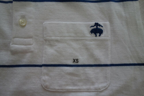 NWOT Brooks Brothers White with Blue Stripe Cotton Polo Extra Small XS