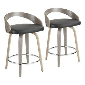 Pleasant Details About Grotto Swivel Counter Stools In Light Grey Wood Black Faux Leather Set Of 2 Gmtry Best Dining Table And Chair Ideas Images Gmtryco