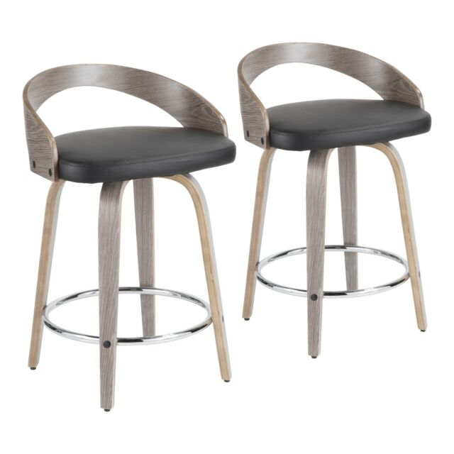 Outstanding Grotto Swivel Counter Stools In Light Grey Wood Black Faux Leather Set Of 2 Pabps2019 Chair Design Images Pabps2019Com