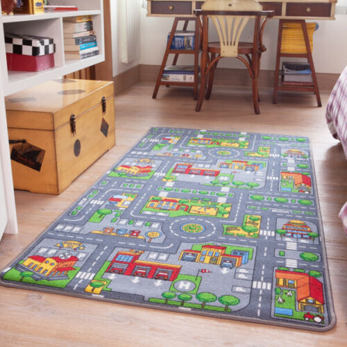 Kids Bright Fun Interactive School Roads Town Play Mat Bedroom Playroom Floor