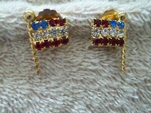 Vintage-034-Weiss-034-Small-Clip-Earrings-Flag-Design-Gold-Tone-Metal-Rhinestones