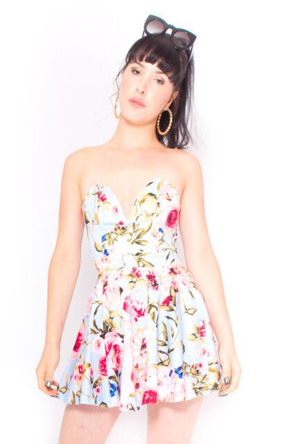 Spring Dame Dress in Blue Floral Strapless 50s Vintage Inspired Formal 6 8 10 12