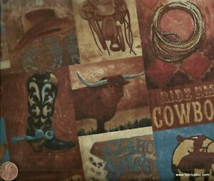 Way-Out-West-cowboy-western-blue-brown-patch-Kaufman-fabric