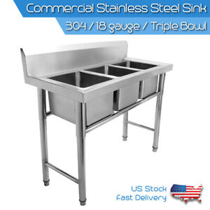 Commercial-304-Stainless-Steel-Sink-Austenitic-Triple-Bowl-3-Compartment-Kitchen