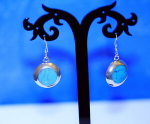 Sterling-Silver-925-Turquoise-Stone-Dangle-Drop-Earrings