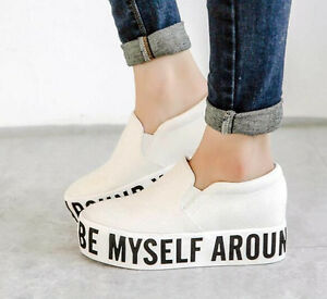 Womens Canvas High Platform Pull On Sneakers Casual Round Toe Loafers Flats S628