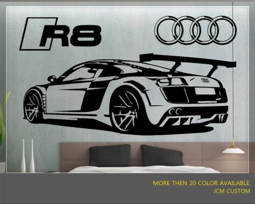 R8 GT Racing Sports Car Back View With Logo Removable Wall Vinyl Decal Sticker