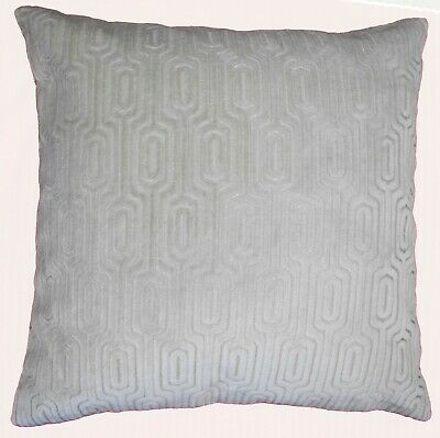 """PALE GREY LUXURY CHENILLE VELVET PIPED HARD WEARING 20/"""" CUSHION COVER £6.99 EACH"""