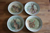 Pottery Barn Meadow Bunny Easter Dessert Salad Plates, 4pc In Box