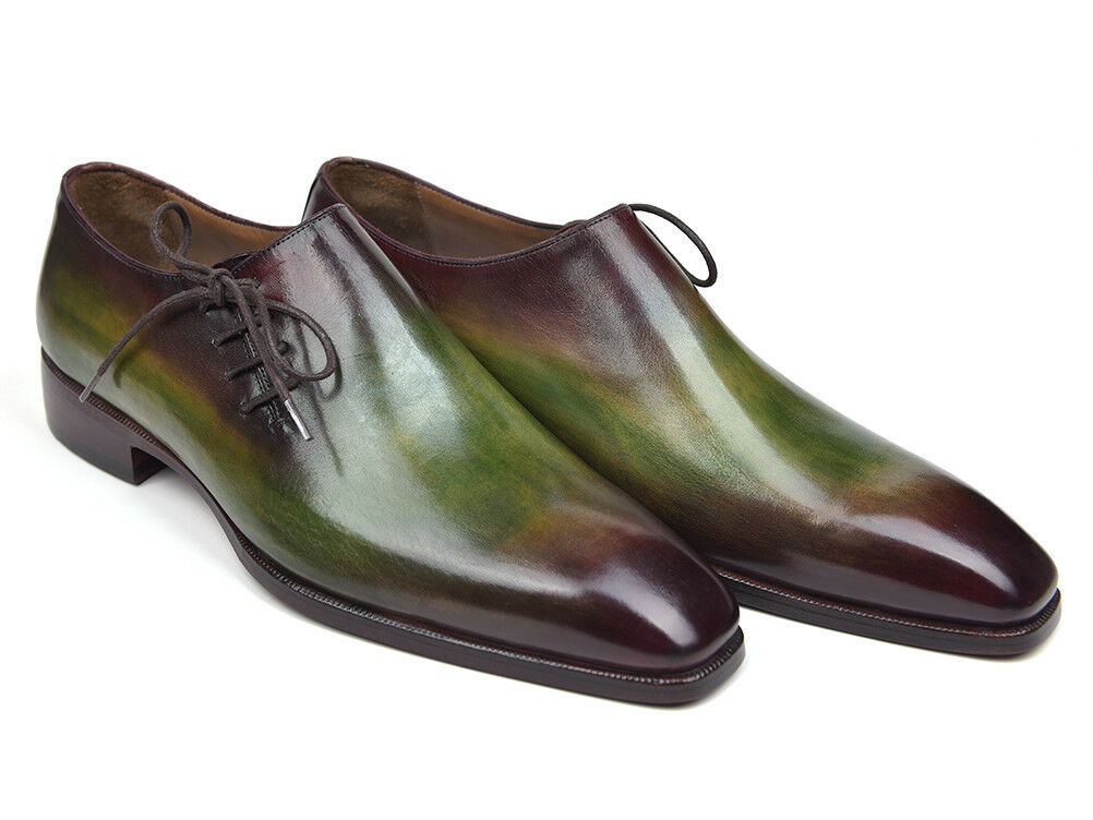Paul Parkman Side Lace Oxfords Green & Bordeaux (IDF74)