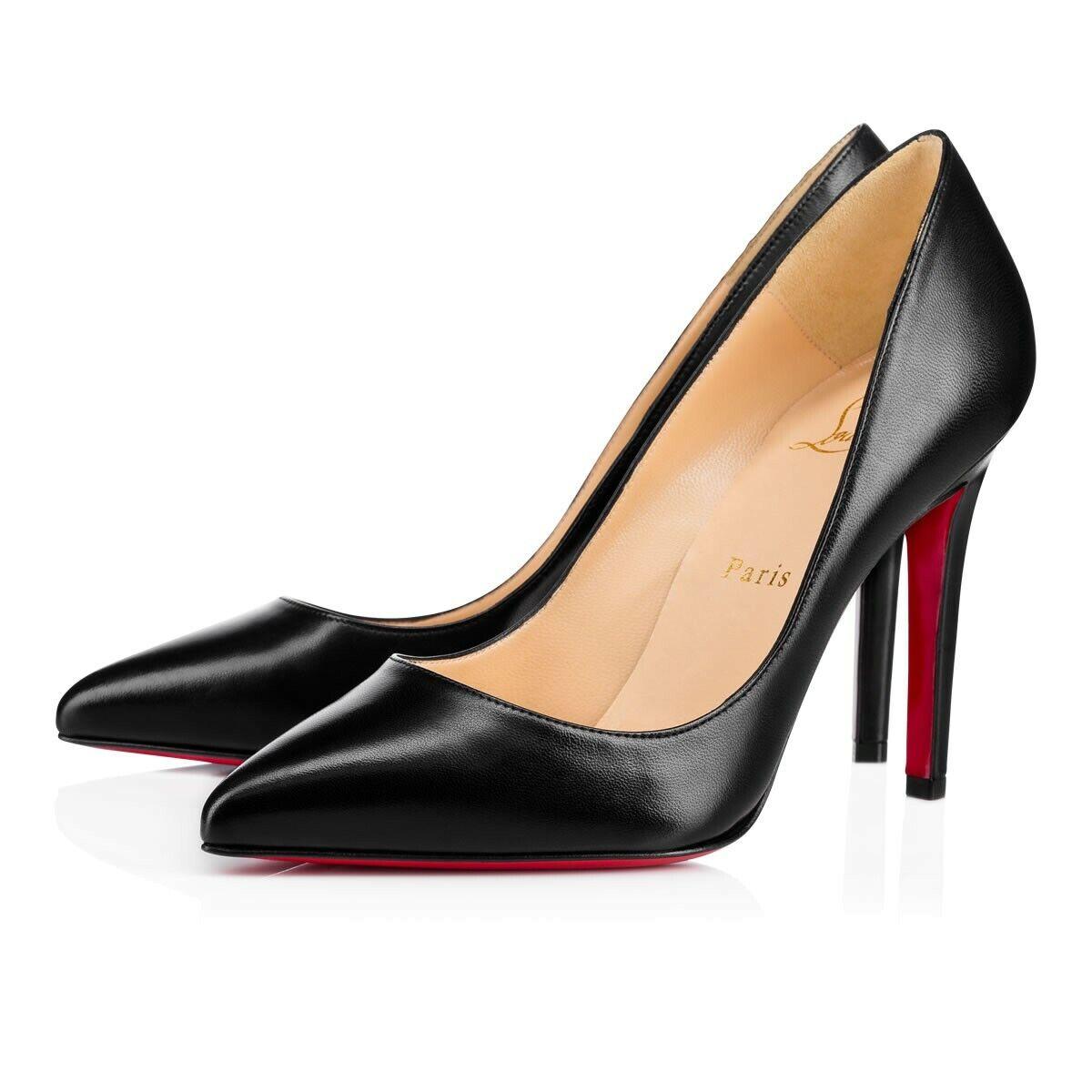CHRISTIAN LOUBOUTIN 100mm Pigalle Black Leather VE Stiletto Pump Heel 36 6 5.5