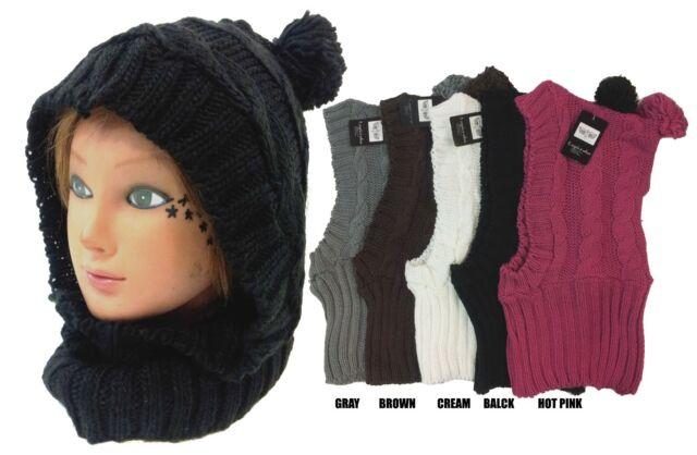 Hoodie Pullover Headscarf Knit Neckwarmer Cowl Scarf Beanie Ski Hat Cap