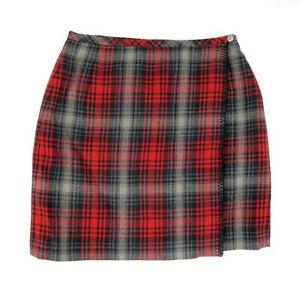 Eddie-Bauer-Women-039-s-Size-10-Red-Black-Gray-Plaid-100-Wool-Pencil-Wrap-Skirt