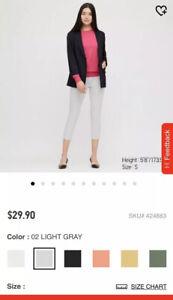 Uniqlo Women Ultra Stretch Cropped Leggings Pants 02 Light Gray New Ebay