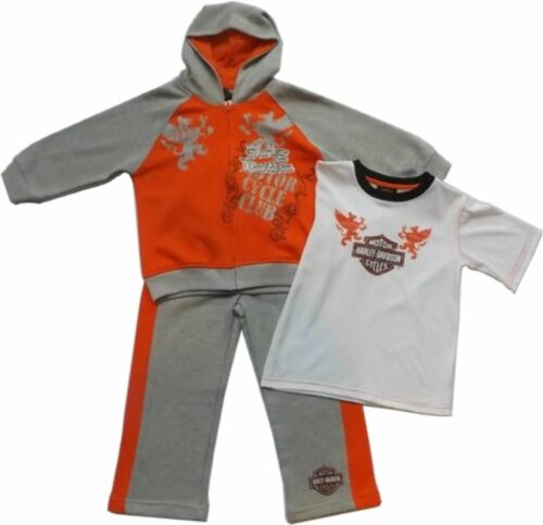 Harley Davidson Boys T-Shirt - Hoody - Sweat Pants Gift Set - Kids Clothing