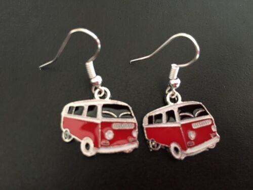 FUNKY RED /& BLACK  VW CAMPER VAN ENAMEL CHARM EARRINGS LADIES GIRLS RETRO GIFT
