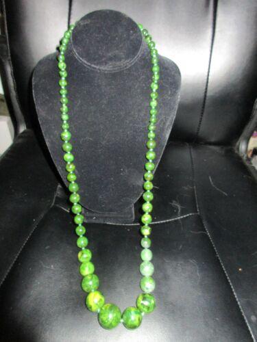 VINTAGE 40's-50's EMERALD GREEN SWIRLED BAKELITE B