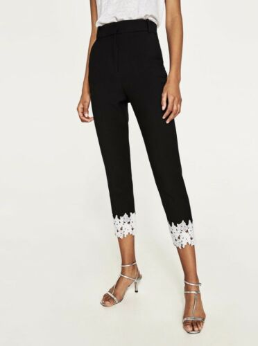 Rare/_NWT ZARA AW17 Black LACE-TRIMMED TROUSERS PANTS 7689//349/_ S M L