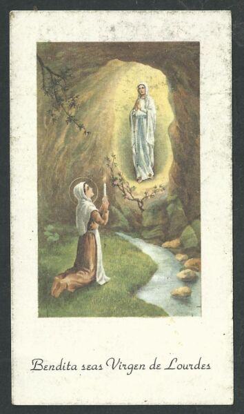 HáBil Estampa Antigua Virgen De Lourdes Andachtsbild Santino Holy Card Santini