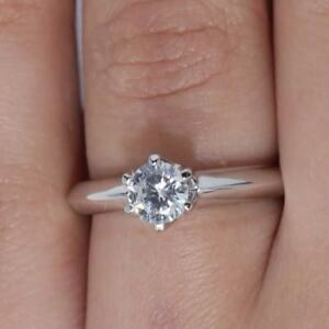 Details about  /1ct Round Cut Classic Solitaire Bridal Engagement Promise Ring 14k White Gold