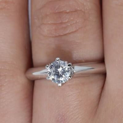 1Ct Round Cut Solitaire Engagement Wedding Promise Ring 14K White Gold Size 8.5