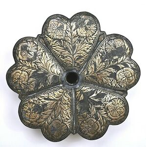 1900's India Indo Anglo Persian Mughal Iron Silver Inlay Leaf Shaped Box