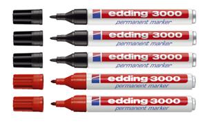 5 x Edding 3000 Filzmarker Permanent Marker Rundspitze 2x rot 3x schwarz
