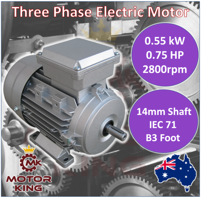 0.55kW 0.75HP Three-phase 2800rpm Electric Motor 14mm Shaft 415v B3 Foot Mount
