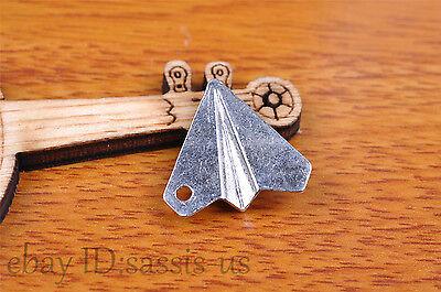 10s 17*19mm Charm 3D plane pendant Diy Jewelry For Bracelet Tibet Silver 7136
