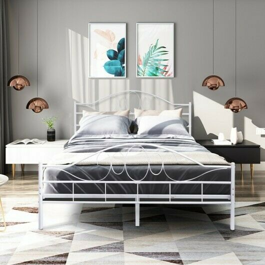 Queen White Steel Bed Frame With Wood Slats And Arched Headboard