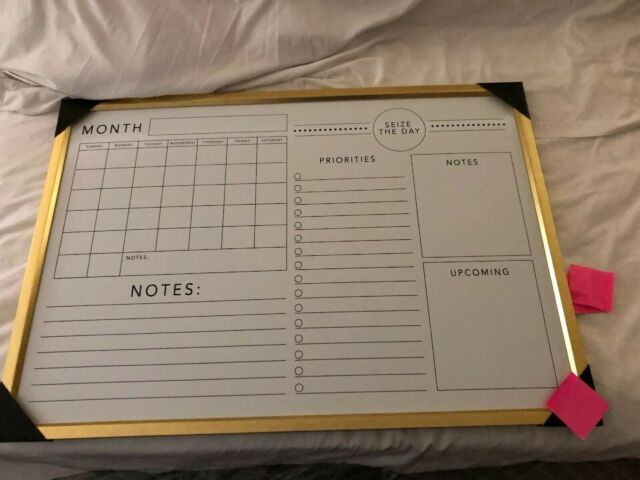 """Gold Framed Chalkboard 16x20/"""" Ashland Wall-Mounted Weekly Planner BRAND NEW"""