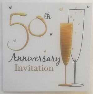 Details About Pack Of 6 Golden 50th Wedding Anniversary Invitation Cards With Envelopes