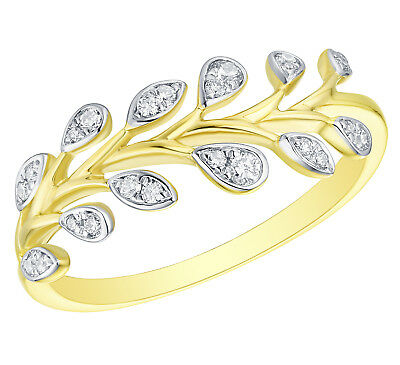 10k Gold Prism Jewel 0.25Ct Round G-H//I1 Natural Diamond Hand Fan Style Open Ring
