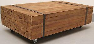 TEAK Planken-Couchtisch TOULOUSE Teakholz antik massiv VINTAGE Tisch ...