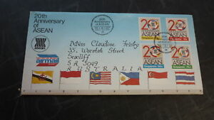 OLD-SINGAPORE-STAMP-ISSUE-FIRST-DAY-COVER-1987-20th-ANNIV-ASEAN