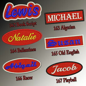 Custom-Embroidered-Name-Patch-4-034-5-034-Iron-on-Tag-Red-Rectangular-Oval-Freehand