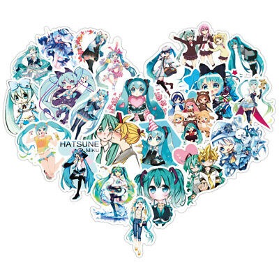 New 50pc//set No repeat lovely Hatsune Miku Stickers Luggage Decal Ornament Mark