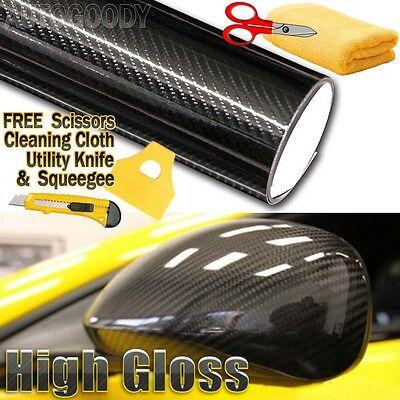 *5D Premium High Gloss Blue Carbon Fiber Vinyl Wrap Bubble Free Air Release