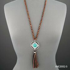 Long Silver Aztec Design Turquoise Stone Wooden Beaded Tassel Pendant Necklace