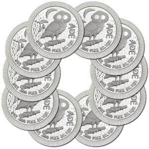 10 x 1 oz Silber Eule von Athen 2018 - Athenian Owl - Niue Silbermünze 999