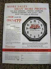 1940's Pepsi Cola Double Dot Advertising Clock Brochure