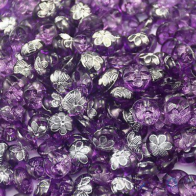 50pcs Round Resin Purple Flower Round Sewing Button Lots 12mm Craft DIY