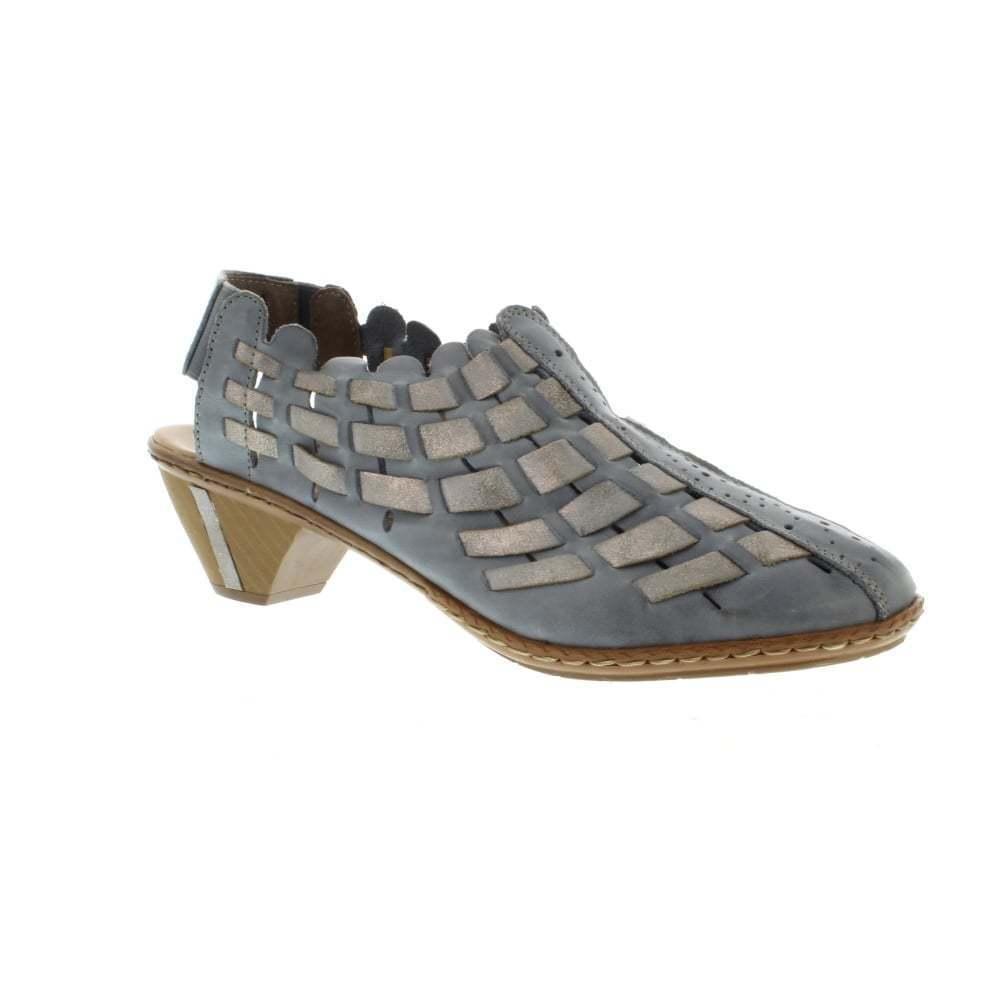 Rieker Womens 46778 bluee Grey Combi Leather Interwoven Elastic Slingback Sandals