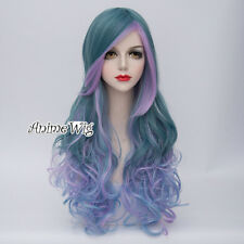 Ombre 70CM Green Mixed Blue & Purple Lolita Long Women Curly Hair Cosplay Wig