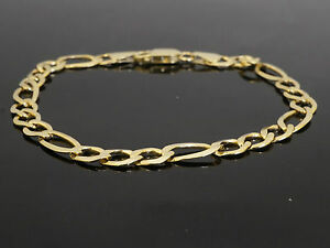 Real 14k Yellow Gold Bracelet Figaro Chain 5mm 8